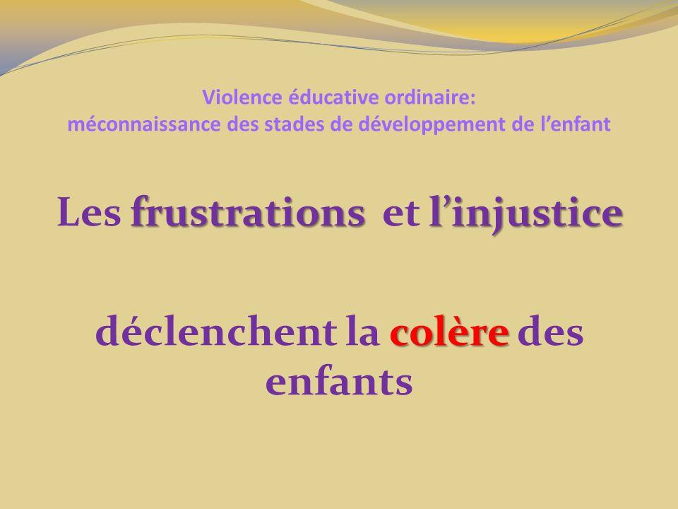 Violence éducative ordinaire: méconnaissance des stades de développement de lenfant frustrations linjustice Les frustrations et linjustice colère décl
