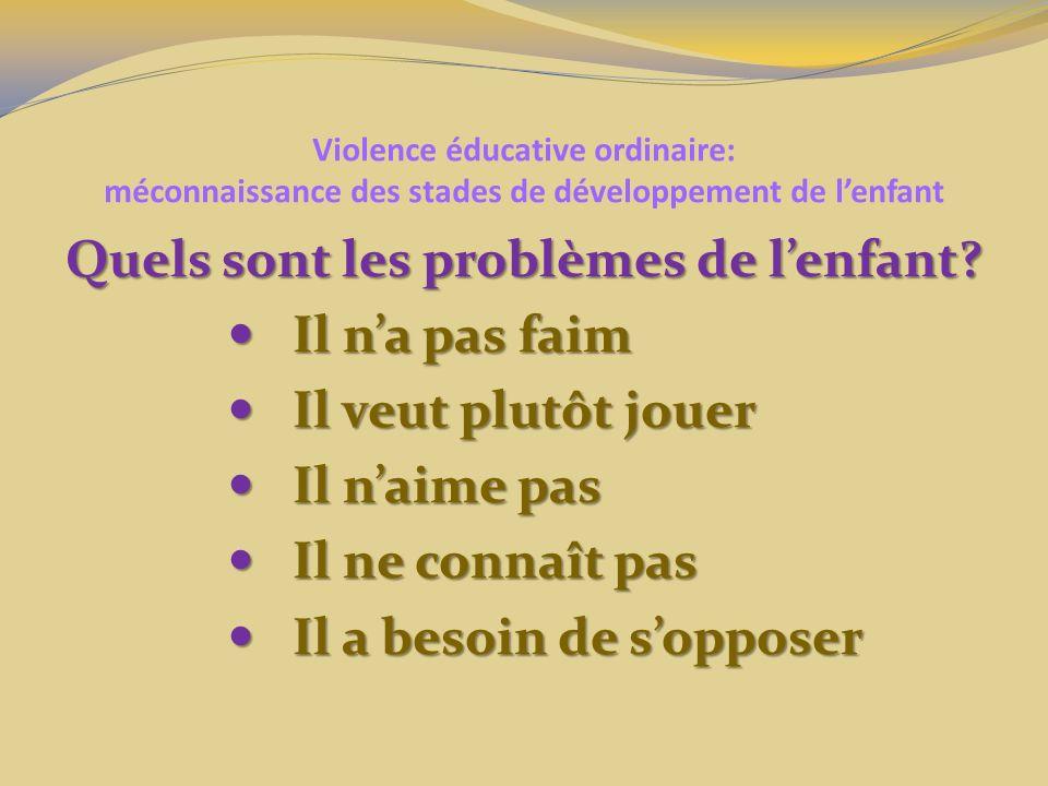 Violence éducative ordinaire: méconnaissance des stades de développement de lenfant Quels sont les problèmes de lenfant? Il na pas faim Il na pas faim