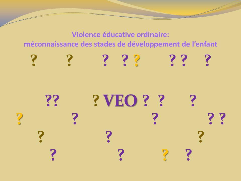Violence éducative ordinaire: méconnaissance des stades de développement de lenfant Besoin versus désir: Les besoins non satisfaits amènent le manque Les désirs non satisfaits entraînent la frustration