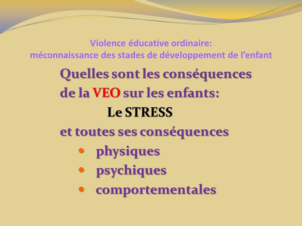 Violence éducative ordinaire: méconnaissance des stades de développement de lenfant Quelles sont les conséquences de la VEO sur les enfants: Le STRESS