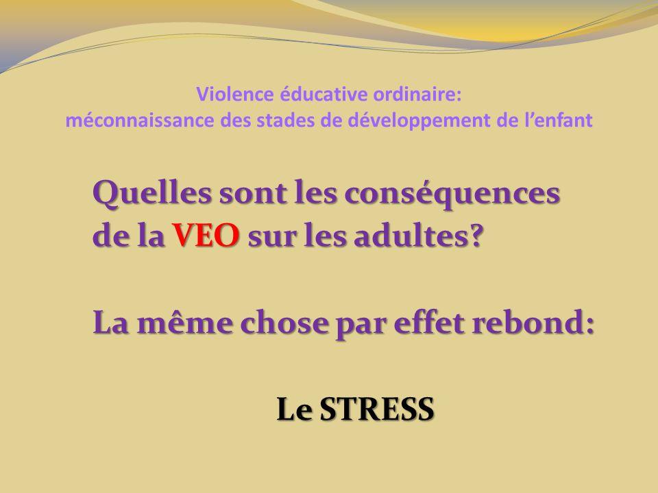 Violence éducative ordinaire: méconnaissance des stades de développement de lenfant Quelles sont les conséquences de la VEO sur les adultes? La même c