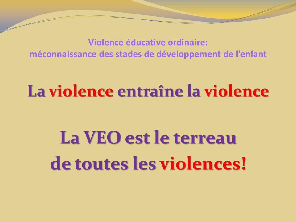 Violence éducative ordinaire: méconnaissance des stades de développement de lenfant La violence entraîne la violence La VEO est le terreau de toutes les violences!