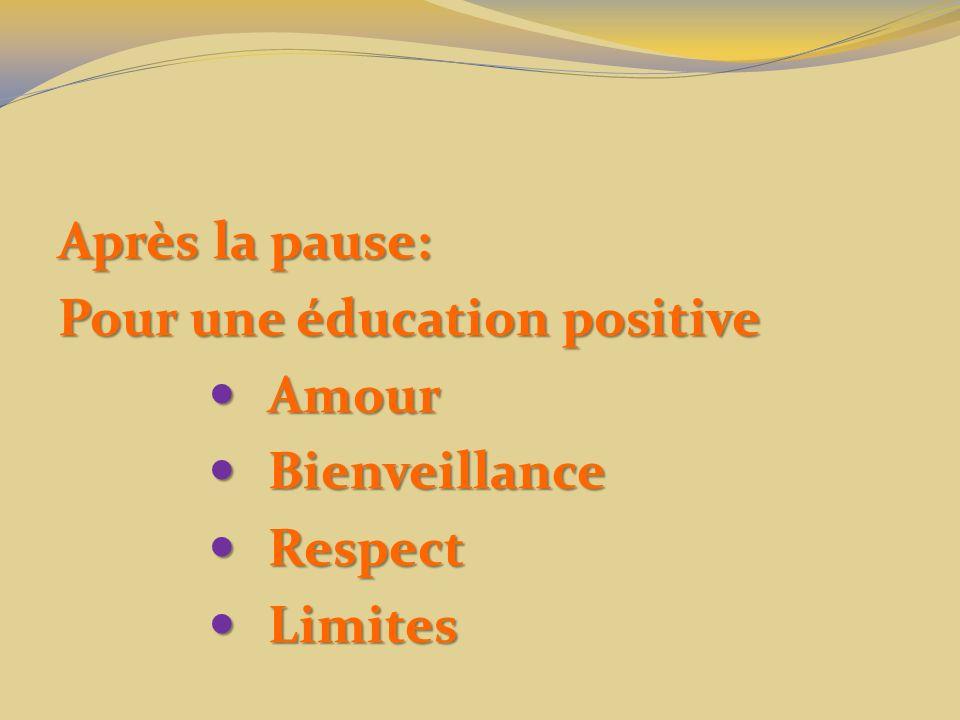 Après la pause: Pour une éducation positive Amour Amour Bienveillance Bienveillance Respect Respect Limites Limites