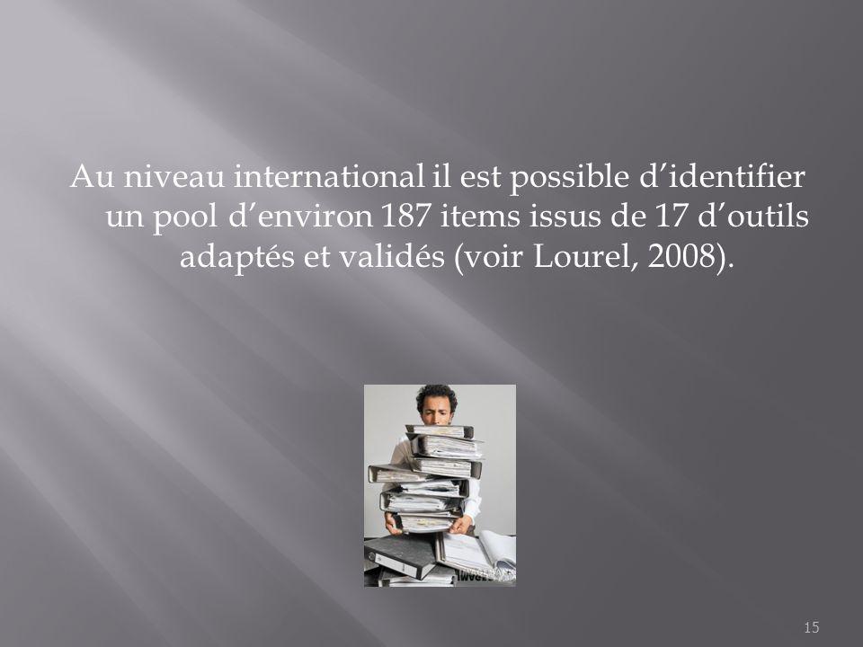 Au niveau international il est possible didentifier un pool denviron 187 items issus de 17 doutils adaptés et validés (voir Lourel, 2008). 15