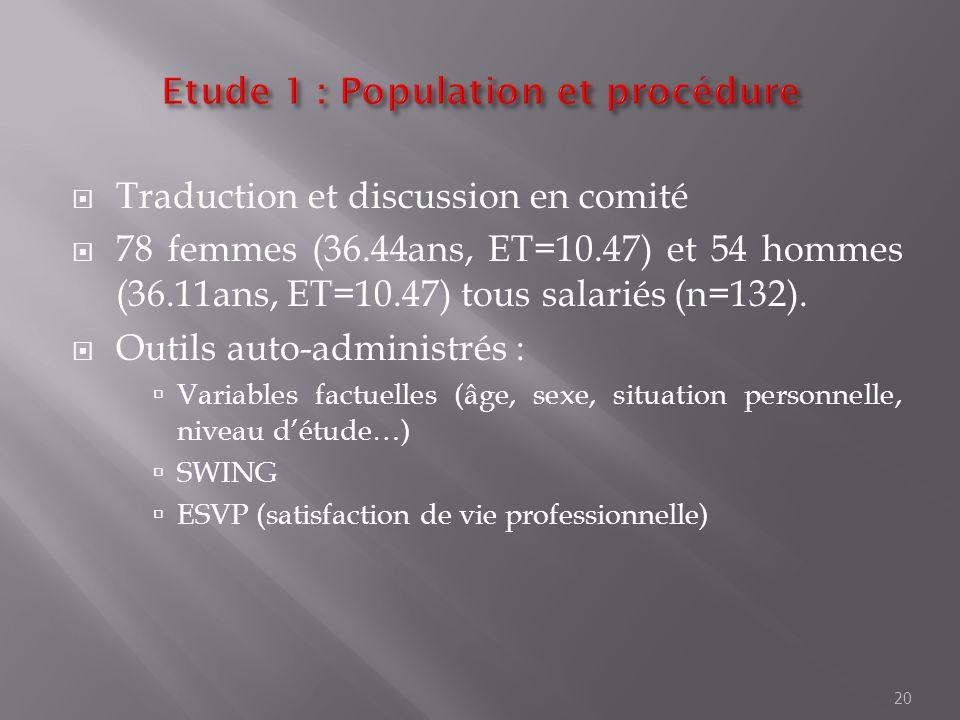 Traduction et discussion en comité 78 femmes (36.44ans, ET=10.47) et 54 hommes (36.11ans, ET=10.47) tous salariés (n=132). Outils auto-administrés : V