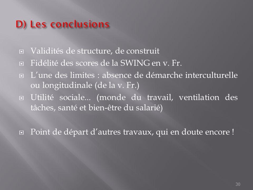 Validités de structure, de construit Fidélité des scores de la SWING en v. Fr. Lune des limites : absence de démarche interculturelle ou longitudinale