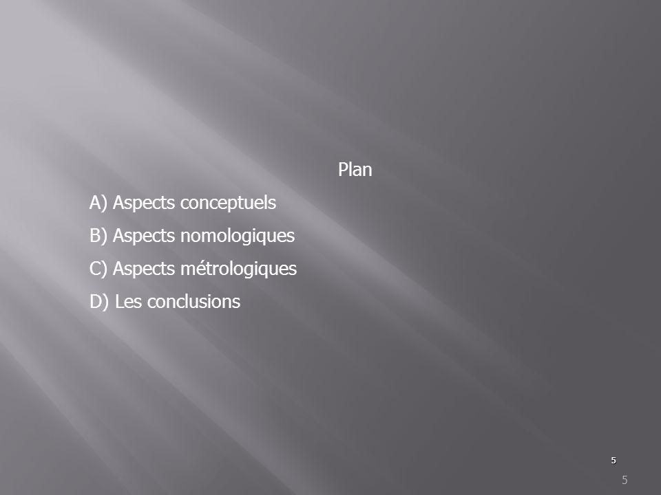 5 5 Plan A) Aspects conceptuels B) Aspects nomologiques C) Aspects métrologiques D) Les conclusions
