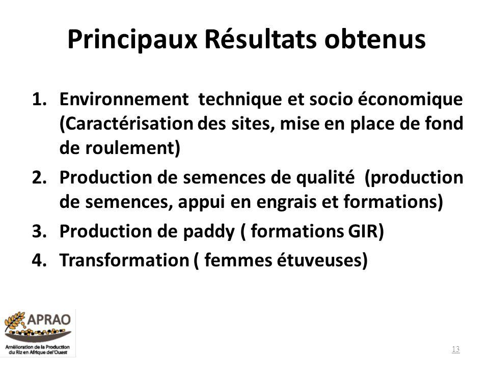 Principaux Résultats obtenus 1.Environnement technique et socio économique (Caractérisation des sites, mise en place de fond de roulement) 2.Productio