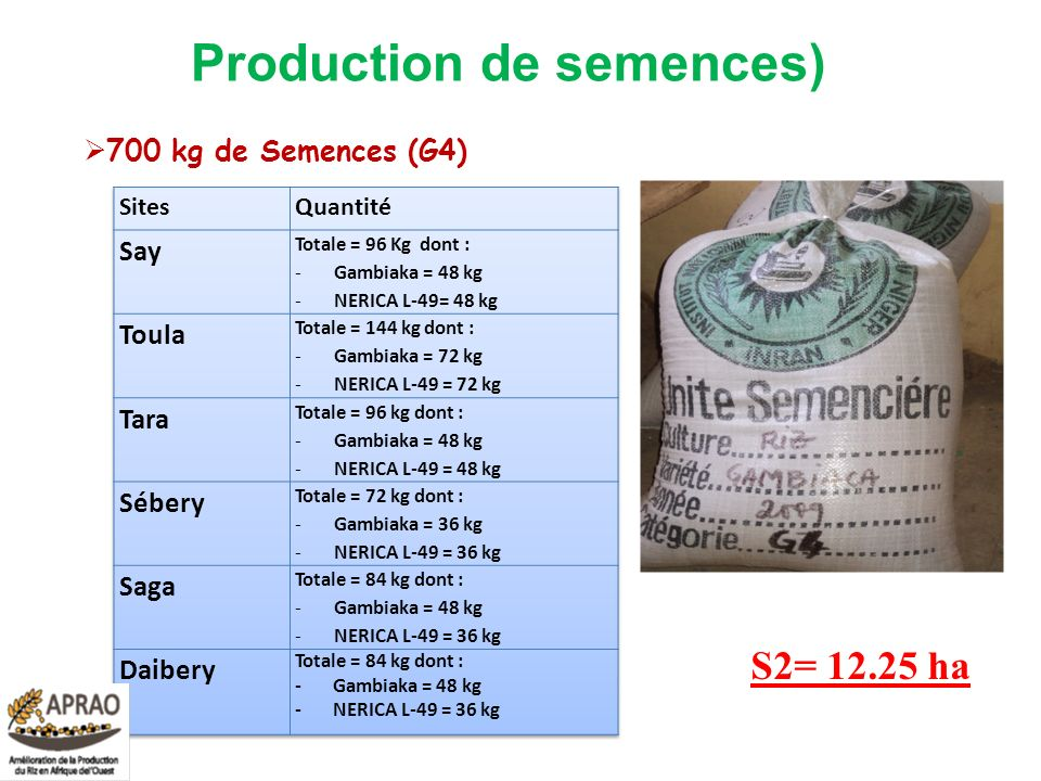Production de semences) 700 kg de Semences (G4) S2= 12.25 ha