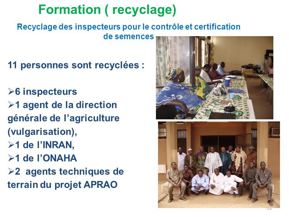 11 personnes sont recyclées : 6 inspecteurs 1 agent de la direction générale de lagriculture (vulgarisation), 1 de lINRAN, 1 de lONAHA 2 agents techni