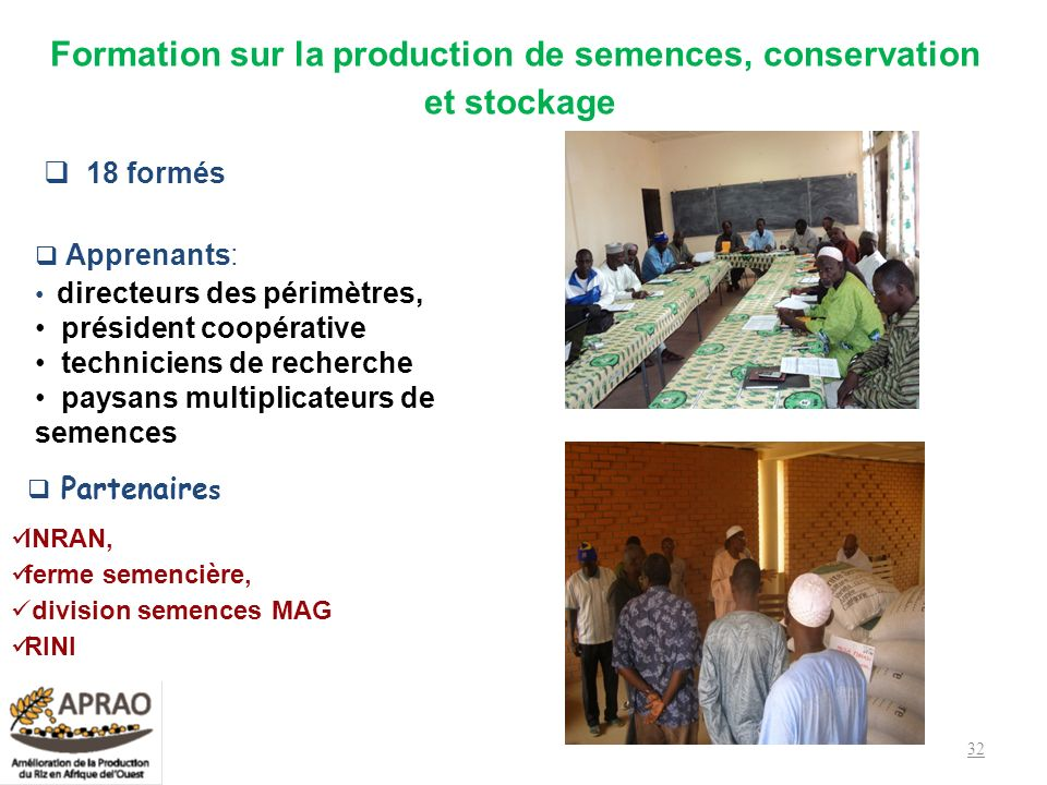 Formation sur la production de semences, conservation et stockage 18 formés Apprenants: directeurs des périmètres, président coopérative techniciens d