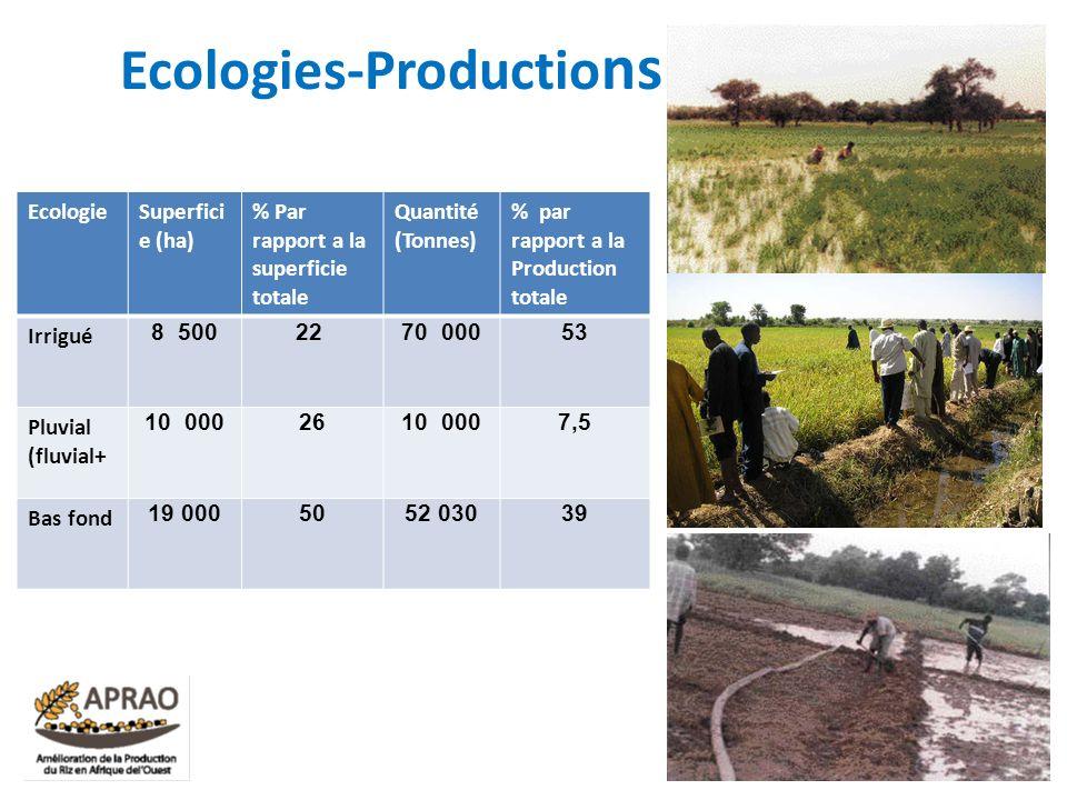 Ecologies-Productio ns EcologieSuperfici e (ha) % Par rapport a la superficie totale Quantité (Tonnes) % par rapport a la Production totale Irrigué 8