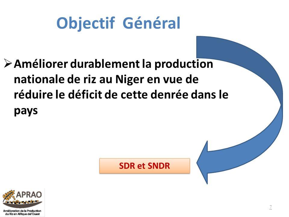 Objectif Général Améliorer durablement la production nationale de riz au Niger en vue de réduire le déficit de cette denrée dans le pays SDR et SNDR 7