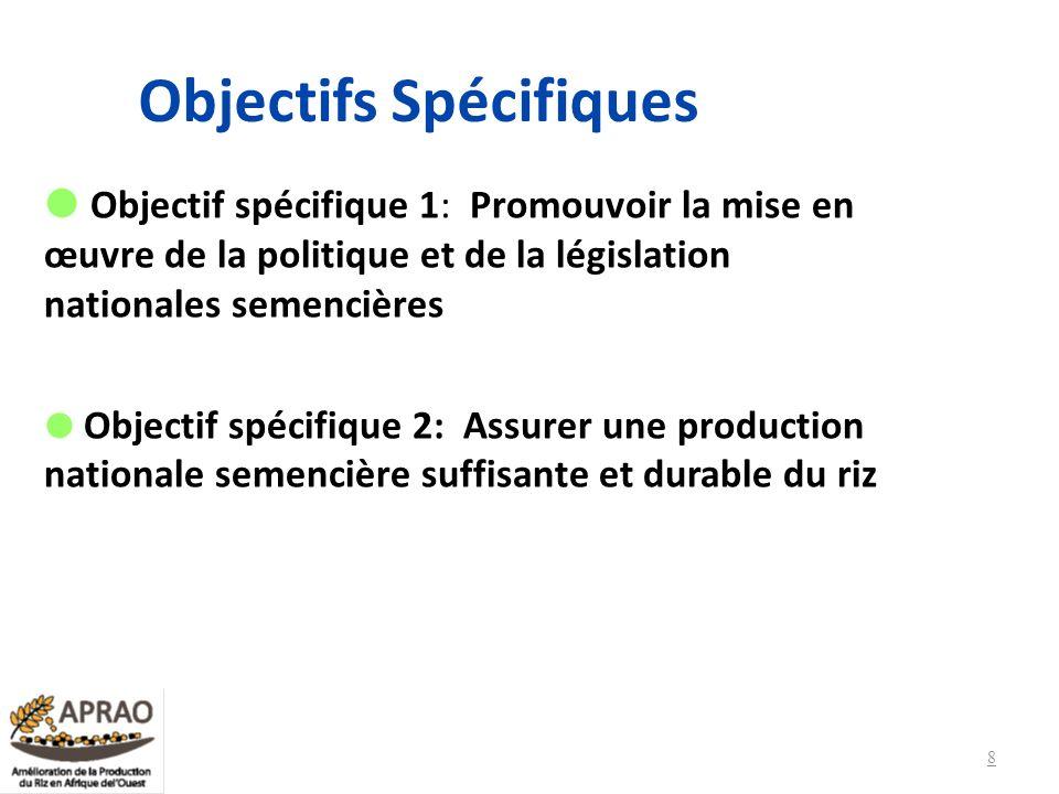 Objectifs Spécifiques Objectif spécifique 3 : Promouvoir lintensification durable des systèmes de production de riz Objectif spécifique 4: Promouvoir la transformation et la commercialisation de riz de qualité par les producteurs et productrices 9