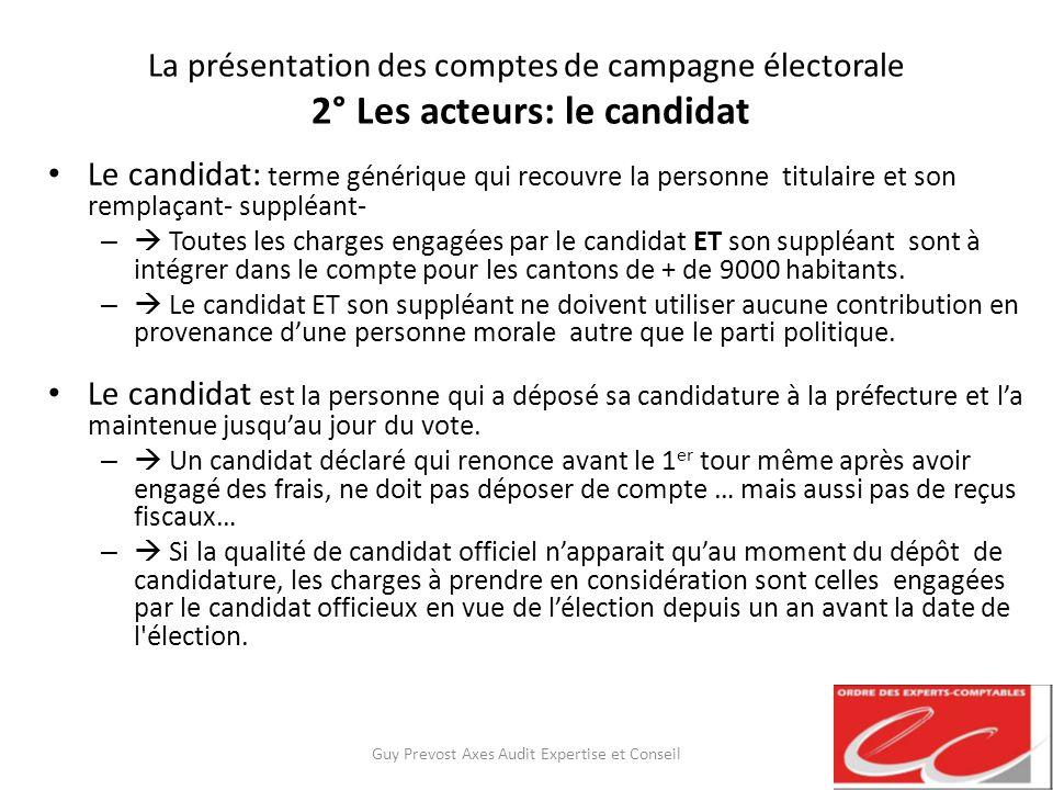 La présentation des comptes de campagne électorale 2° Les acteurs: le candidat Le candidat: terme générique qui recouvre la personne titulaire et son