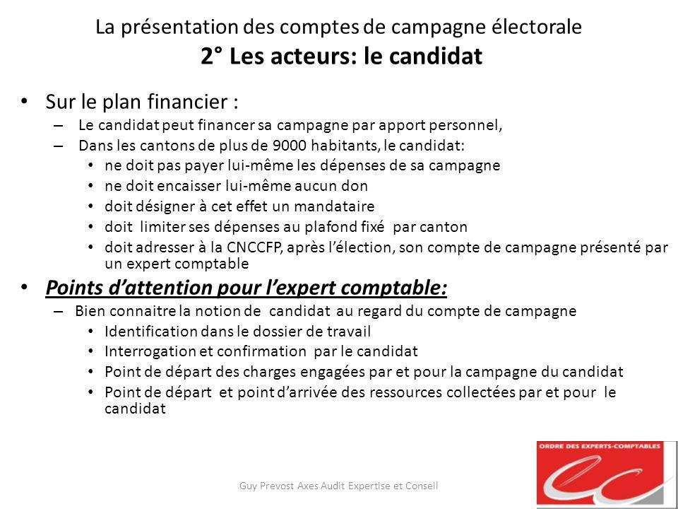 La présentation des comptes de campagne électorale 2° Les acteurs: le candidat Sur le plan financier : – Le candidat peut financer sa campagne par app