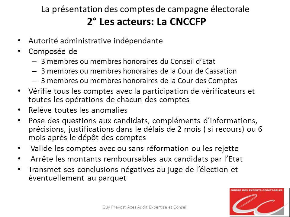 La présentation des comptes de campagne électorale 2° Les acteurs: La CNCCFP Autorité administrative indépendante Composée de – 3 membres ou membres h