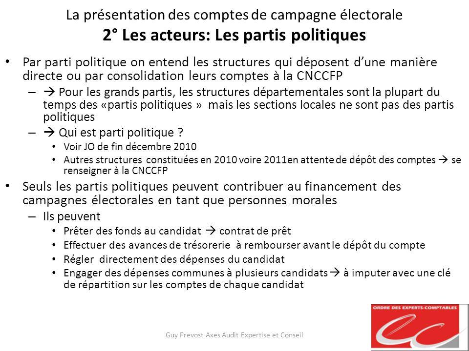 La présentation des comptes de campagne électorale 2° Les acteurs: Les partis politiques Par parti politique on entend les structures qui déposent dun