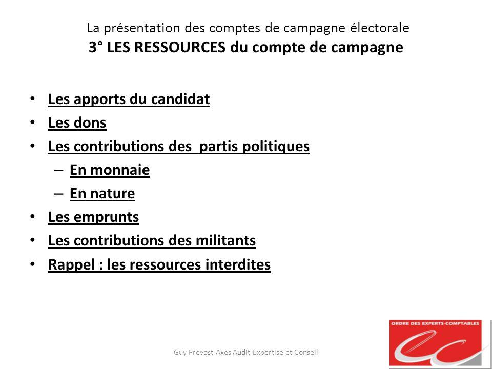 La présentation des comptes de campagne électorale 3° LES RESSOURCES du compte de campagne Les apports du candidat Les dons Les contributions des part