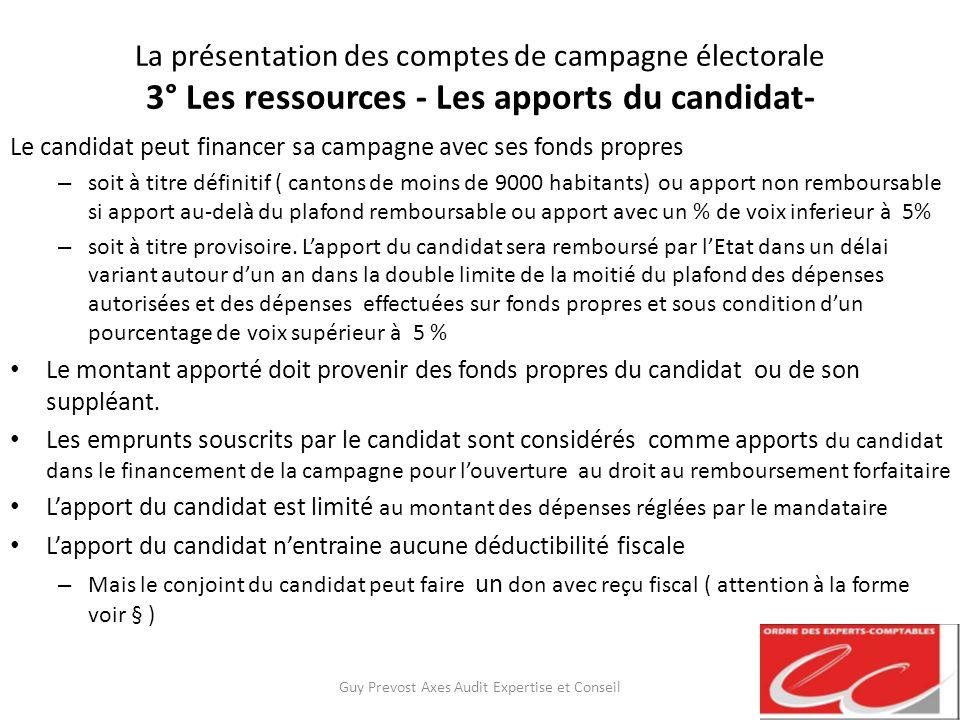 La présentation des comptes de campagne électorale 3° Les ressources - Les apports du candidat- Le candidat peut financer sa campagne avec ses fonds p