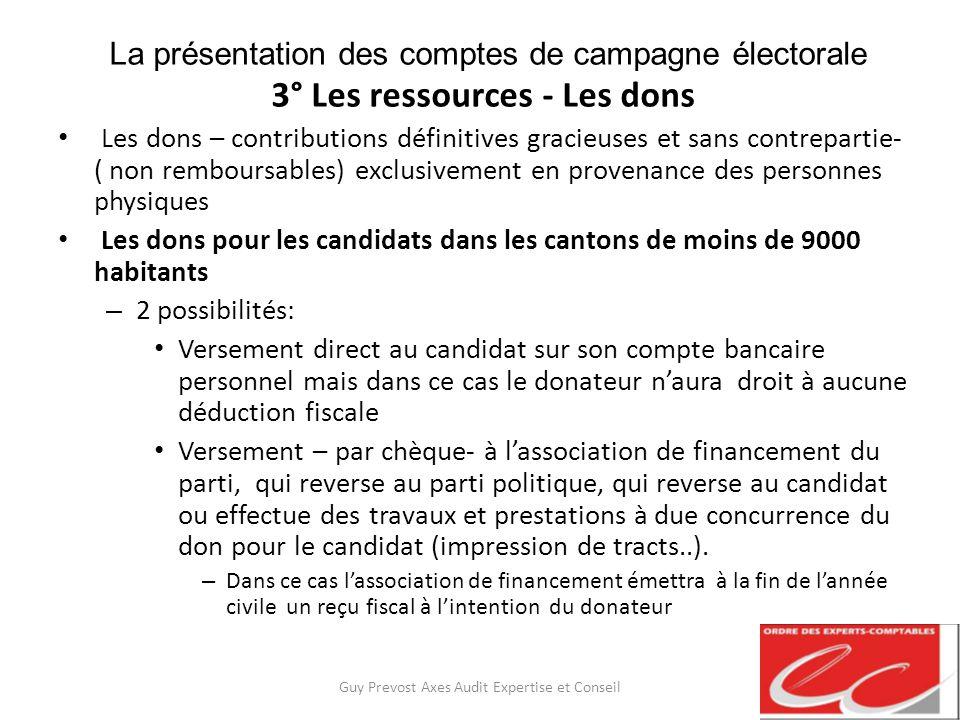 La présentation des comptes de campagne électorale 3° Les ressources - Les dons Les dons – contributions définitives gracieuses et sans contrepartie-