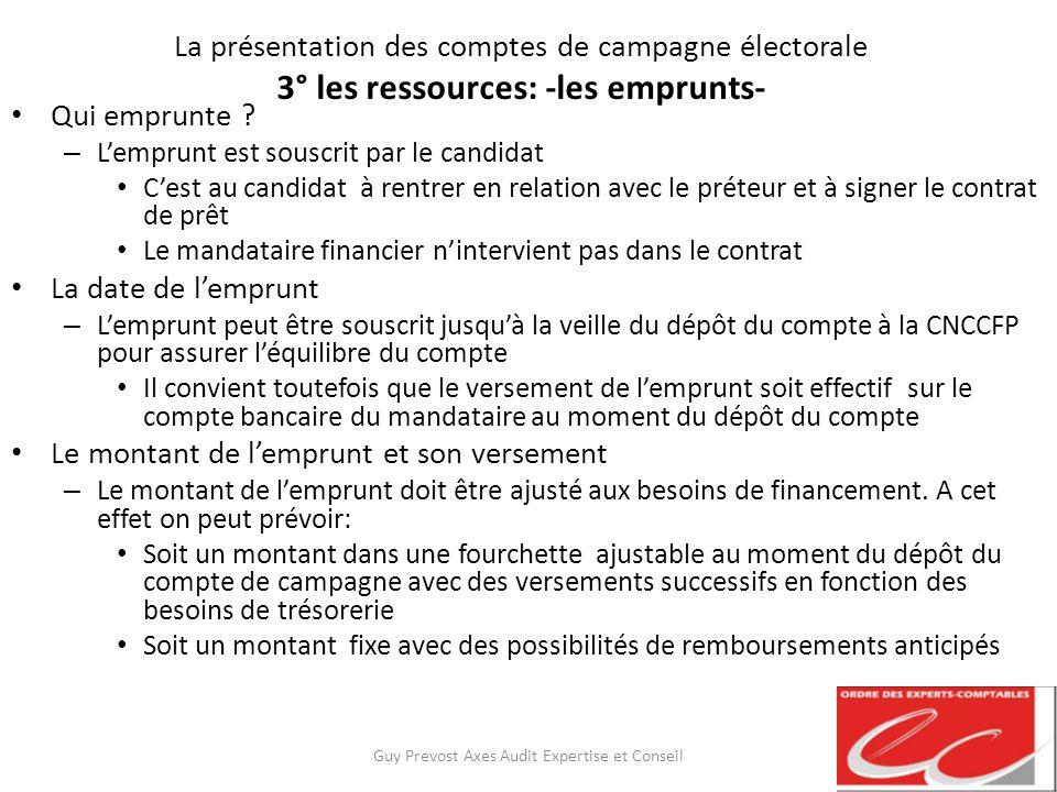 La présentation des comptes de campagne électorale 3° les ressources: -les emprunts- Qui emprunte ? – Lemprunt est souscrit par le candidat Cest au ca