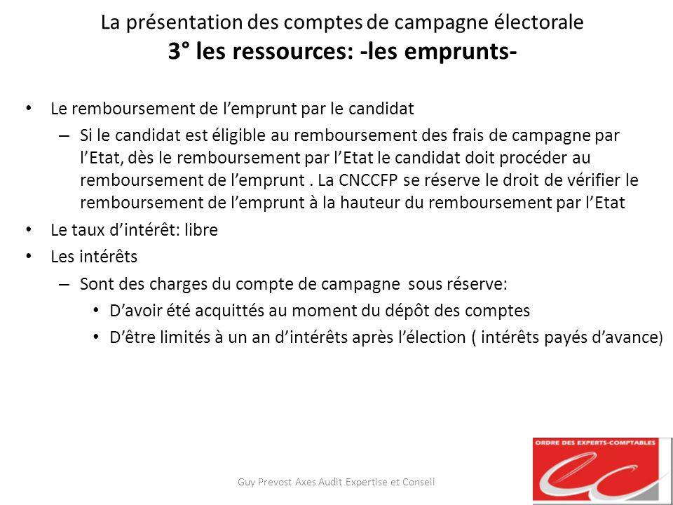 La présentation des comptes de campagne électorale 3° les ressources: -les emprunts- Le remboursement de lemprunt par le candidat – Si le candidat est
