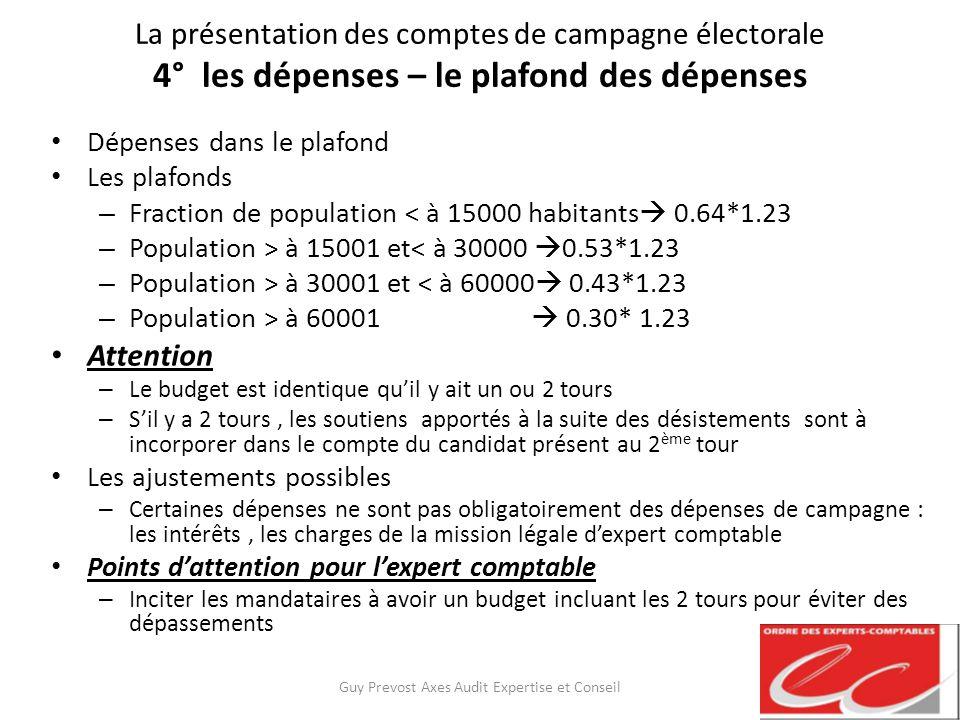 La présentation des comptes de campagne électorale 4° les dépenses – le plafond des dépenses Dépenses dans le plafond Les plafonds – Fraction de popul