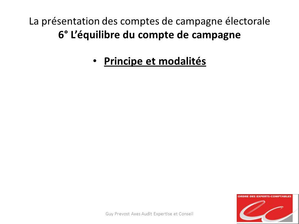 La présentation des comptes de campagne électorale 6° Léquilibre du compte de campagne Principe et modalités Guy Prevost Axes Audit Expertise et Conse