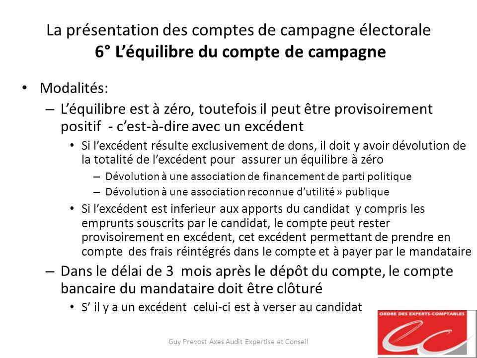 La présentation des comptes de campagne électorale 6° Léquilibre du compte de campagne Modalités: – Léquilibre est à zéro, toutefois il peut être prov