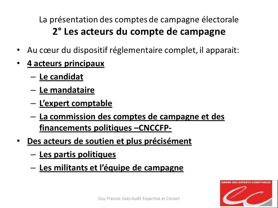 La présentation des comptes de campagne électorale 2° Les acteurs du compte de campagne Au cœur du dispositif réglementaire complet, il apparait: 4 ac