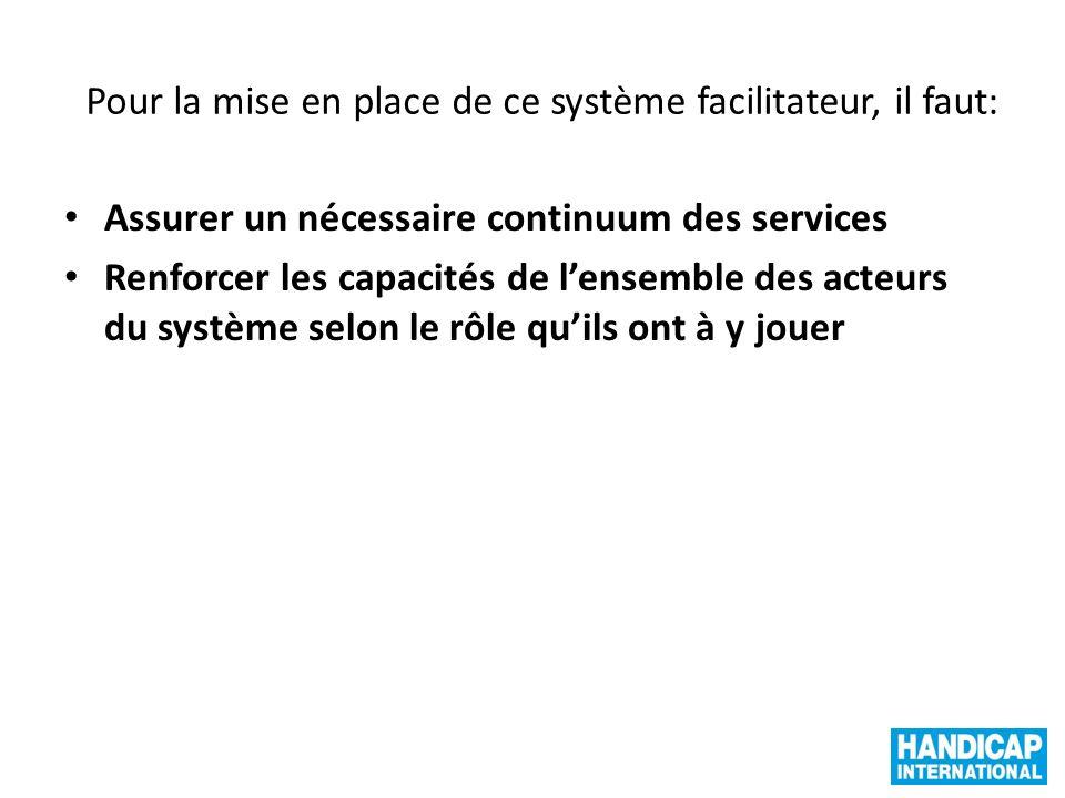 Pour la mise en place de ce système facilitateur, il faut: Assurer un nécessaire continuum des services Renforcer les capacités de lensemble des acteu