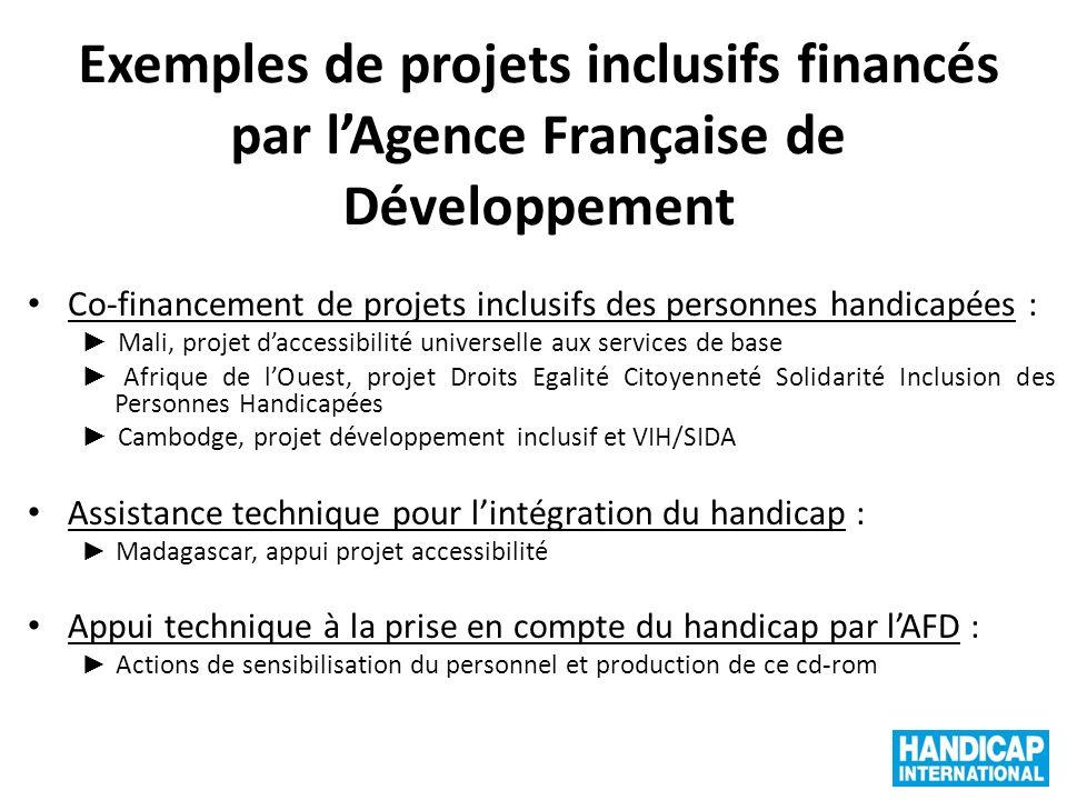 Exemples de projets inclusifs financés par lAgence Française de Développement Co-financement de projets inclusifs des personnes handicapées : Mali, pr