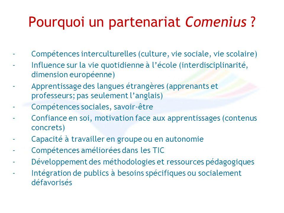 Pourquoi un partenariat Comenius .