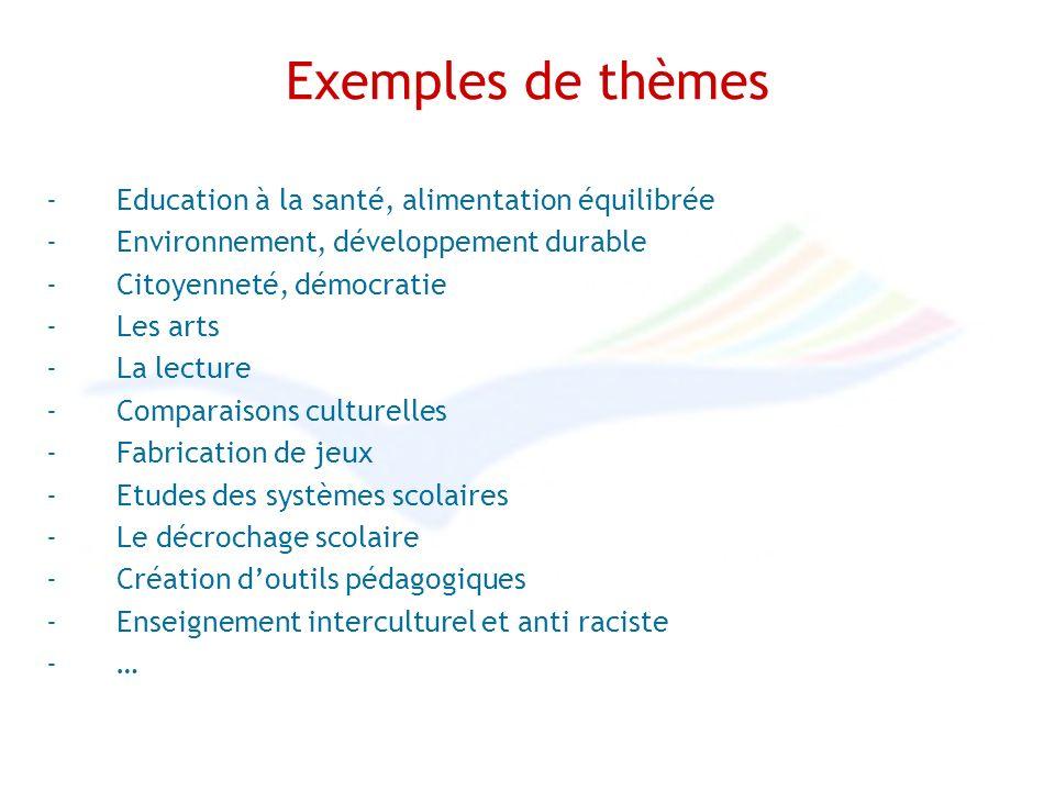 Exemples de thèmes -Education à la santé, alimentation équilibrée -Environnement, développement durable -Citoyenneté, démocratie -Les arts -La lecture -Comparaisons culturelles -Fabrication de jeux -Etudes des systèmes scolaires -Le décrochage scolaire -Création doutils pédagogiques -Enseignement interculturel et anti raciste -…