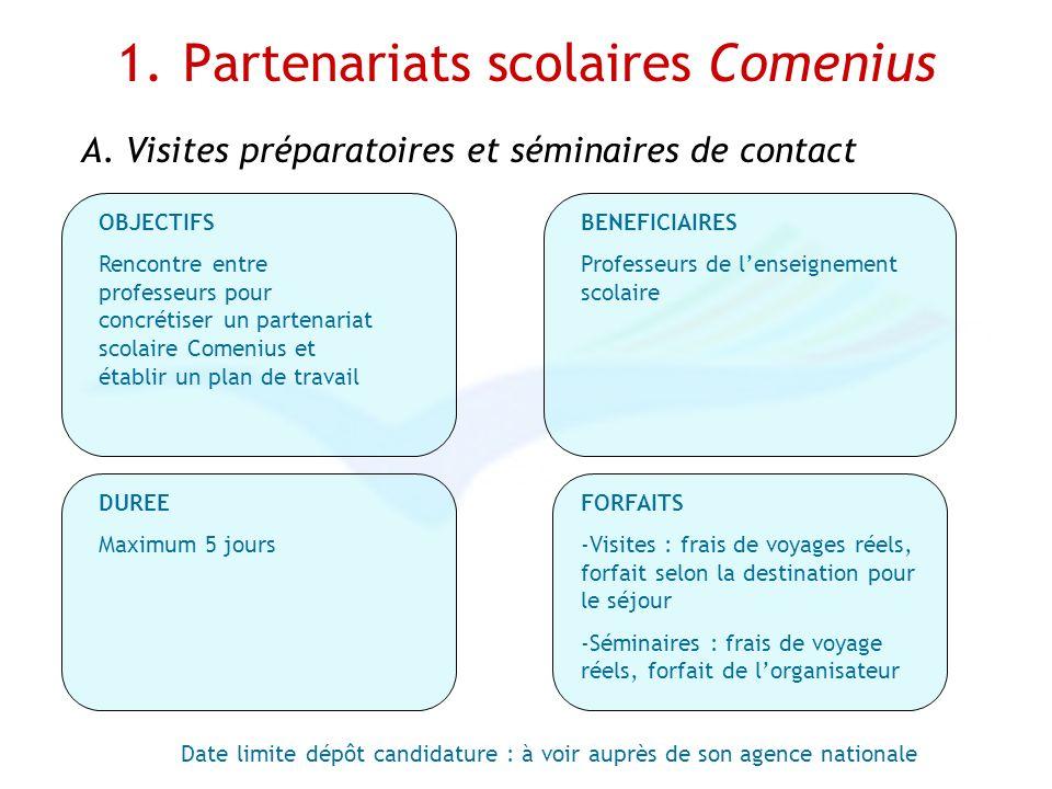 1. Partenariats scolaires Comenius Date limite dépôt candidature : à voir auprès de son agence nationale OBJECTIFS Rencontre entre professeurs pour co
