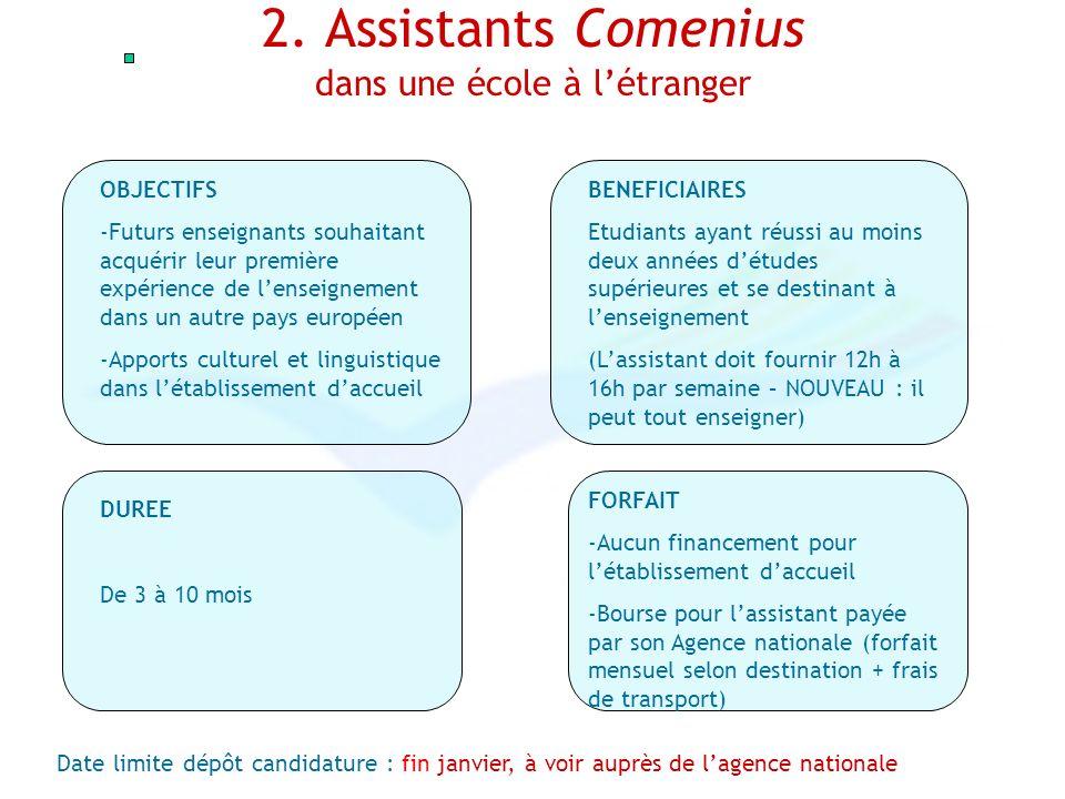 2. Assistants Comenius dans une école à létranger OBJECTIFS -Futurs enseignants souhaitant acquérir leur première expérience de lenseignement dans un