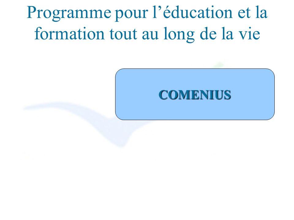 Programme pour léducation et la formation tout au long de la vie COMENIUS