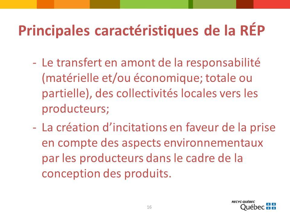 16 Principales caractéristiques de la RÉP -Le transfert en amont de la responsabilité (matérielle et/ou économique; totale ou partielle), des collectivités locales vers les producteurs; -La création dincitations en faveur de la prise en compte des aspects environnementaux par les producteurs dans le cadre de la conception des produits.