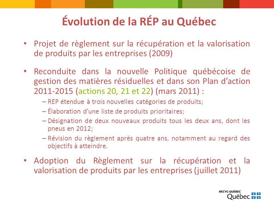 TITRE DE LA PRÉSENTATION Projet de règlement sur la récupération et la valorisation de produits par les entreprises (2009) Reconduite dans la nouvelle Politique québécoise de gestion des matières résiduelles et dans son Plan daction 2011-2015 (actions 20, 21 et 22) (mars 2011) : – REP étendue à trois nouvelles catégories de produits; – Élaboration dune liste de produits prioritaires; – Désignation de deux nouveaux produits tous les deux ans, dont les pneus en 2012; – Révision du règlement après quatre ans, notamment au regard des objectifs à atteindre.