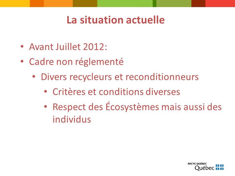 La situation actuelle Avant Juillet 2012: Cadre non réglementé Divers recycleurs et reconditionneurs Critères et conditions diverses Respect des Écosystèmes mais aussi des individus
