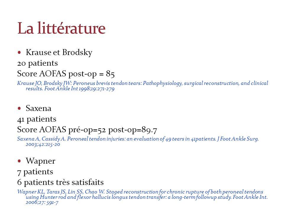 Krause et Brodsky 20 patients Score AOFAS post-op = 85 Krause JO, Brodsky JW: Peroneus brevis tendon tears: Pathophysiology, surgical reconstruction,