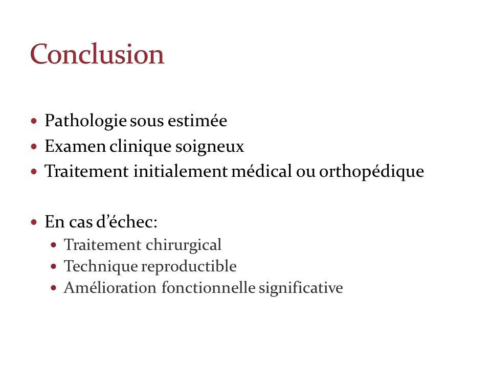 Pathologie sous estimée Examen clinique soigneux Traitement initialement médical ou orthopédique En cas déchec: Traitement chirurgical Technique repro