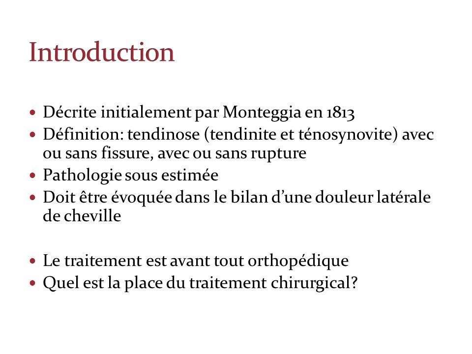 Décrite initialement par Monteggia en 1813 Définition: tendinose (tendinite et ténosynovite) avec ou sans fissure, avec ou sans rupture Pathologie sou