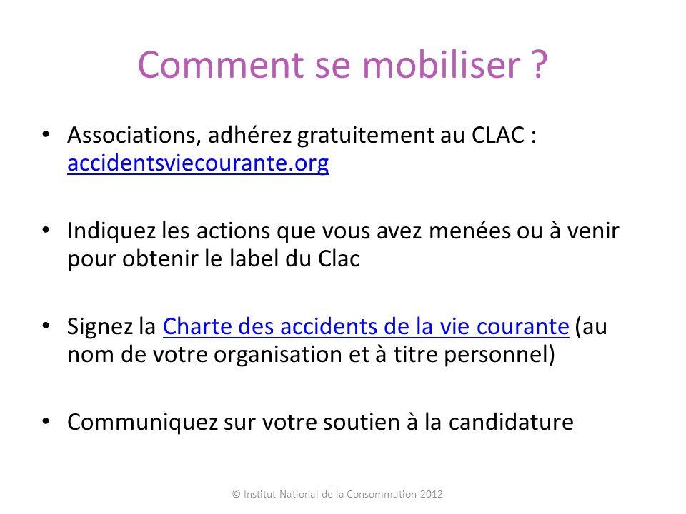 Comment se mobiliser ? Associations, adhérez gratuitement au CLAC : accidentsviecourante.org accidentsviecourante.org Indiquez les actions que vous av