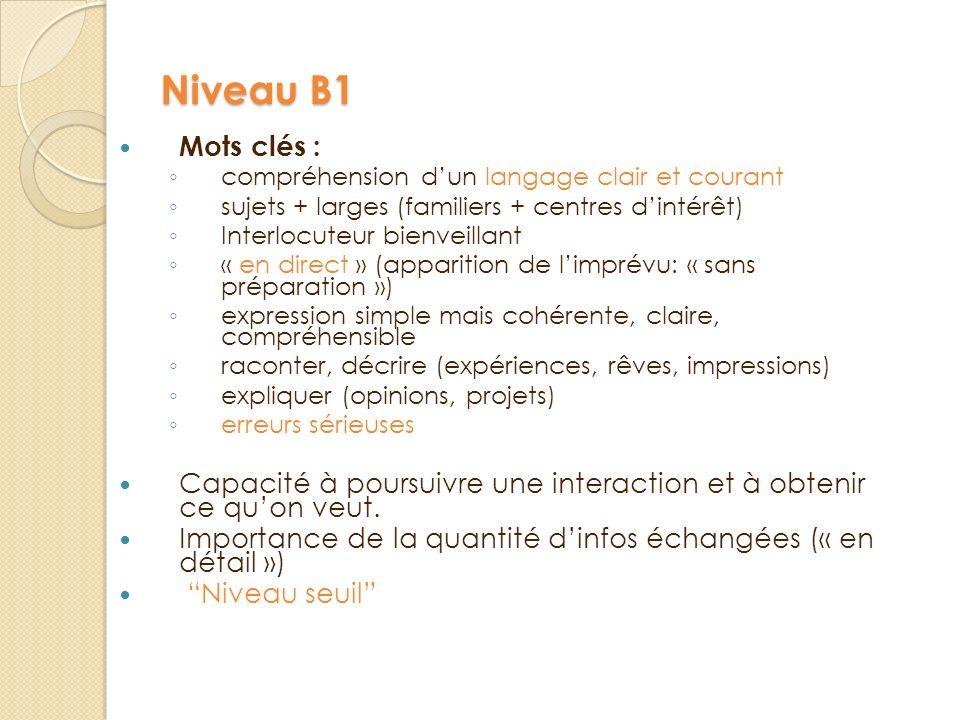 Niveau B1 Mots clés : c ompréhension dun langage clair et courant s ujets + larges (familiers + centres dintérêt) I nterlocuteur bienveillant « en dir