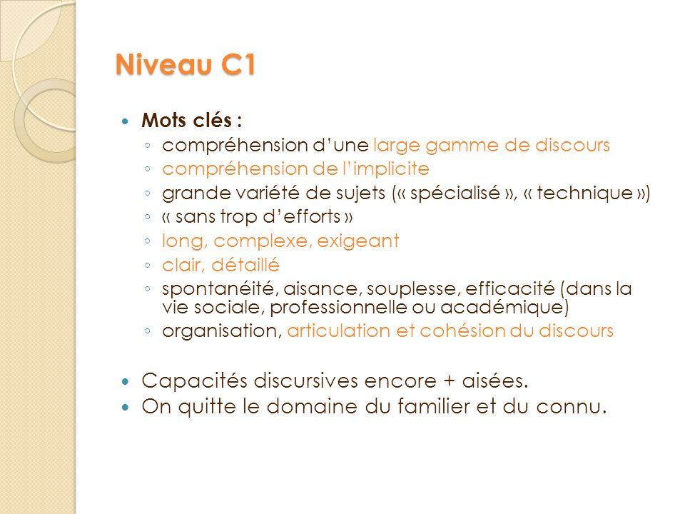 Niveau C1 Mots clés : c ompréhension d une large gamme de discours c ompréhension de l implicite g rande variété de sujets (« spécialisé », « techniqu