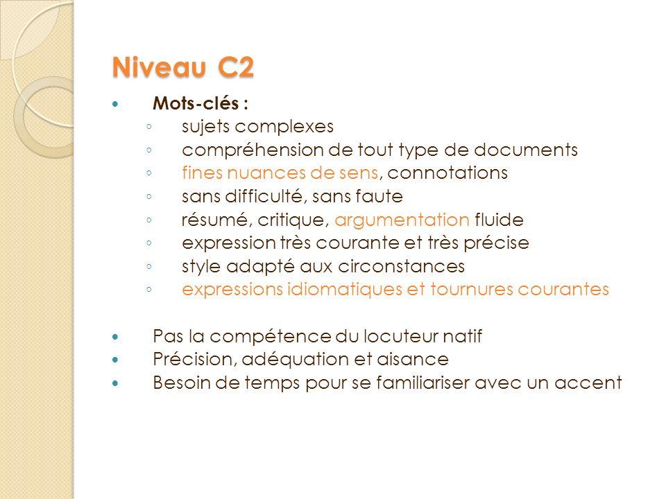 Niveau C2 Mots-clés : s ujets complexes c ompréhension de tout type de documents f ines nuances de sens, connotations s ans difficulté, sans faute r é