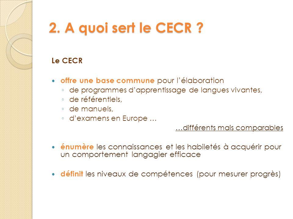 2. A quoi sert le CECR ? Le CECR offre une base commune pour lélaboration de programmes dapprentissage de langues vivantes, de référentiels, de manuel