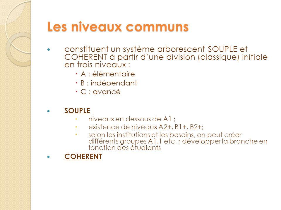 Les niveaux communs constituent un système arborescent SOUPLE et COHERENT à partir dune division (classique) initiale en trois niveaux : A : élémentai